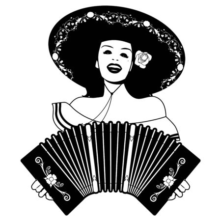 Schönes lateinisches Mädchen, das mexikanischen Hut trägt, singt und spielt Akkordeon playing