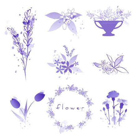 Purple flowers set with watercolor splashes isolated on white background