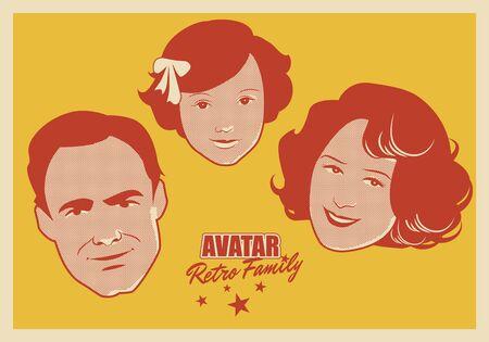 Avatar de la familia retro. Dibujos animados se enfrenta a mujer, hombre y niño estilo retro Ilustración de vector
