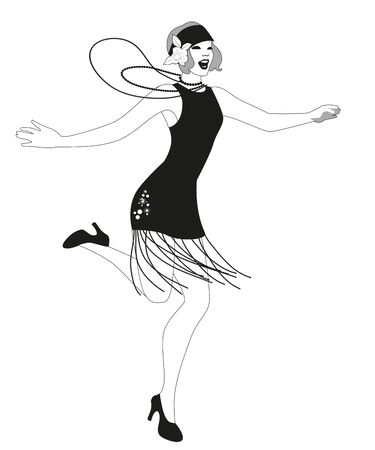 Funny flapper girl wearing vintage style clothes dancing charleston isolated on white background