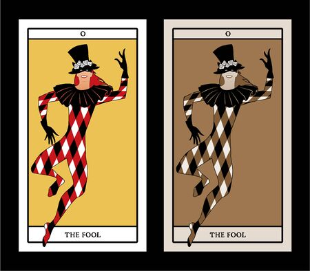 Major Arcana Tarot Cards. The Fool. Joker with top hat decorated with flowers, mask and rhombus suit dancing