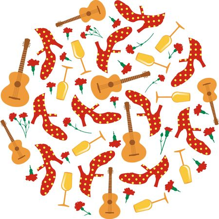 Spanish fair. Circular pattern of flamenco shoes, Spanish guitar, red carnations and wine glasses on white background Stock Illustratie