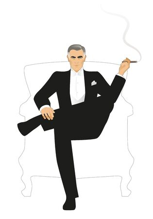 Elegant gentleman dressed in a tailcoat, sitting on an armchair and smoking a cigar, isolated on white background. Retro style.