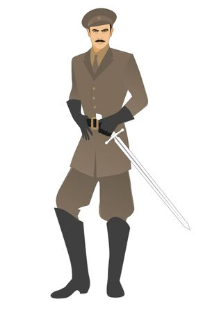 Elegant man with mustache, carrying sword and military clothes in retro style, isolated on white background