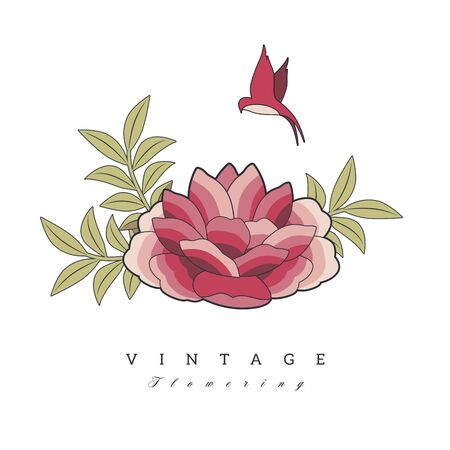 Stylized vintage retro flower and bird. Natural style brand logo isolated on white background
