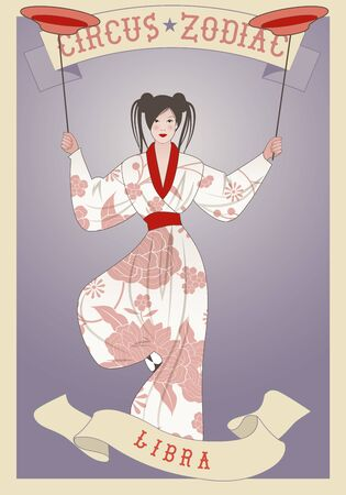 Zodiac Circus. Libra sign. Oriental girl juggling dishes on a pole