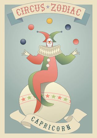 Zodiac Circus. Capricorn sign. Clown dressed as a horned mermaid, juggling balls and sitting on a giant ball. Vektorové ilustrace
