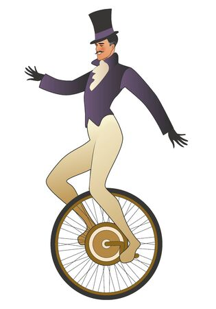 Mustached tightrope walker dressed in the old fashion, wearing top hat, balancing on unicycle, isolated on white background