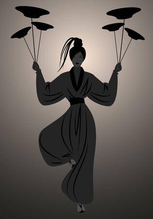 Backlit silhouette of oriental girl wearing a kimono, holding dishes balanced on a pole