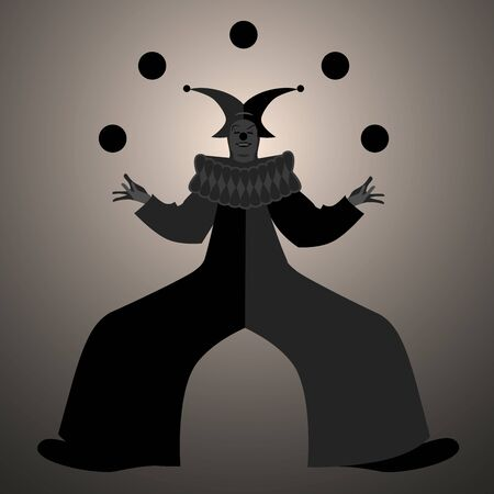 Backlit silhouette of retro style clown juggling balls