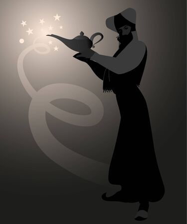 Backlit silhouette of magician dressed in the oriental style, holding a magic lamp Illustration