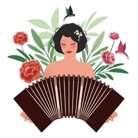 Beautiful girl playing accordion surrounded by birds, leaves and flowers