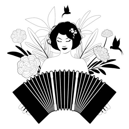 Beautiful girl playing accordion surrounded by birds, leaves and flowers Ilustración de vector