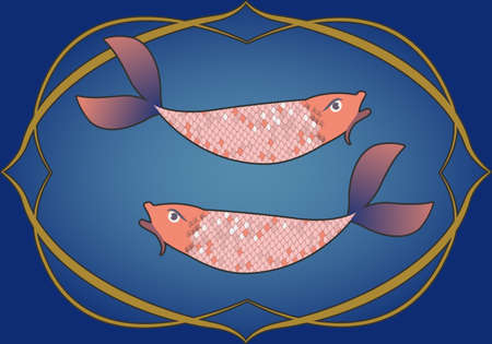 Zodiac Sign. Pisces. Two fish inside in an ornamental frame. Medieval style. Illustration