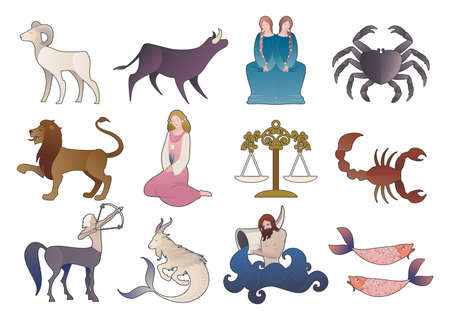 Illustrations of zodiac signs collections, medieval style, isolated on white background. Illustration