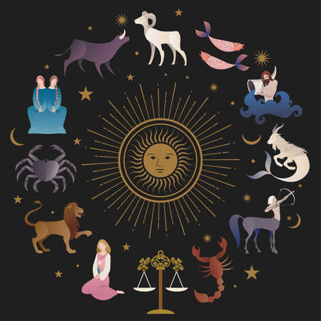 Illustrations of zodiac signs collections, medieval style, on starry sky, sun, moon and stars Illustration