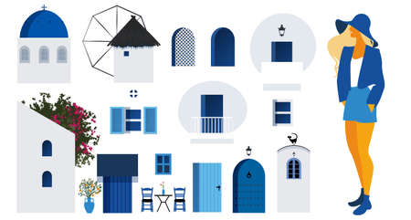 Collection of architectural items to build a typical scene of the Greek Islands and young tourist girl