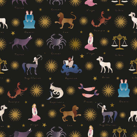 Seamless pattern of zodiac signs medieval style. Gift wrap background