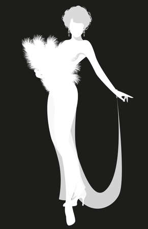 Beautiful and sexy lady dressed in the retro Burlesque style, wearing a fan of feathers and transparencies