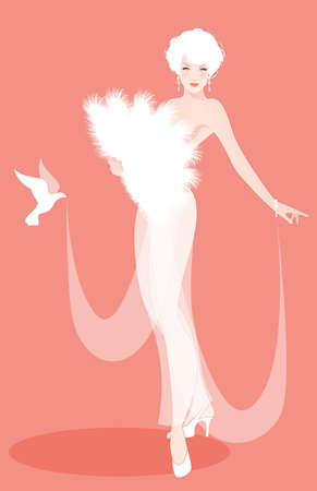 Beautiful and sexy lady dressed in the retro Burlesque style, wearing a fan of feathers and transparencies, accompanied by a dove
