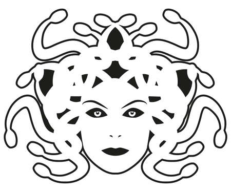 Head of Medusa. Mythological creature with human appearance and hair of snakes, isolated on white background