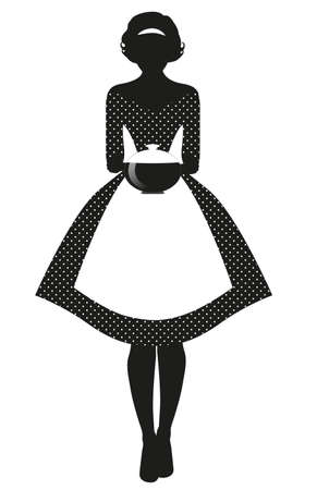 Silhouette of housewife dressed in the style of the 50s in a polka dot dress, carrying a steaming pot isolated on white background