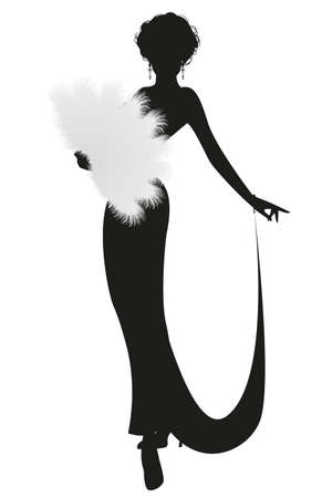 Silhouette of elegant lady dressed in retro style, wearing a fan of feathers isolated on white background