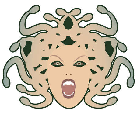 Head of Medusa. Mythological creature with human appearance and hair of snakes, isolated on white background 矢量图像