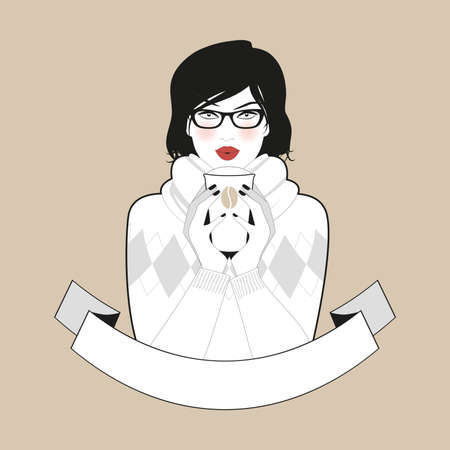 Beautiful girl wearing glasses and winter clothes having coffee. Blank banner for your text 矢量图像
