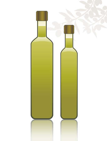 Two bottles of olive oil isolated on white background and shadow of olive branches 矢量图像