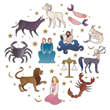 Illustrations of zodiac signs collections, medieval style, on starry sky, sun, moon and stars 矢量图像