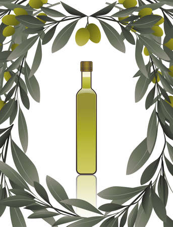 Bottle of olive oil isolated on white background surrounded by a frame of olive branches