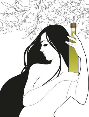 Beautiful girl holding a bottle of olive oil, surrounded by olives and olive branches. Symbolic and allegorical image