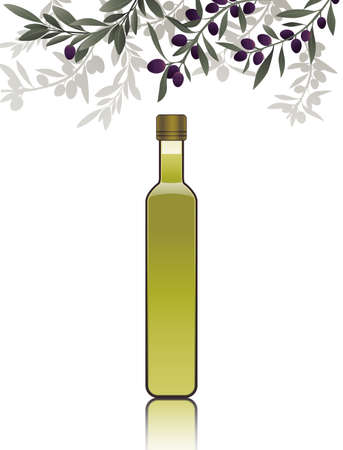 Bottle of olive oil isolated on white background, under olive branches. 矢量图像