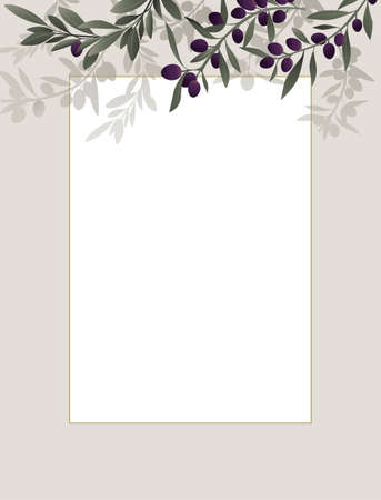 Frame with blank space decorated with illustrated olive branches.