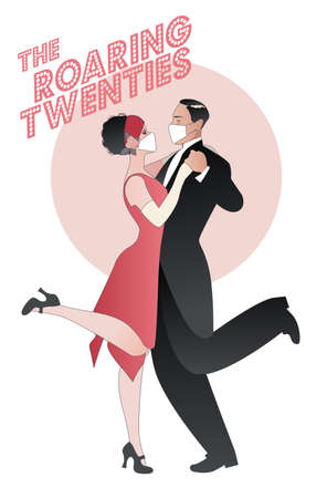 Roaring Twenties. Couple dancing charleston wearing retro clothes and face mask