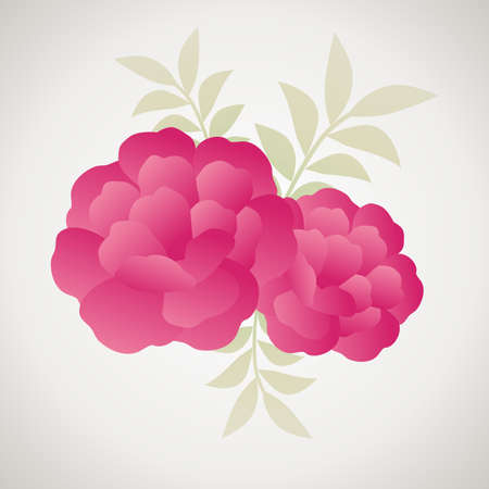Stylized vintage retro flower and leaves. Natural style brand image isolated