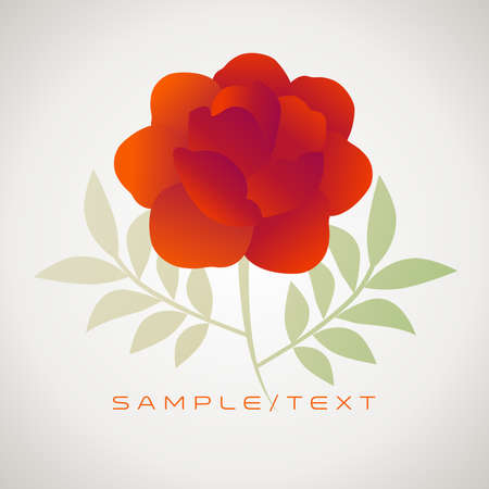 Stylized vintage retro flower and leaves. Natural style brand image isolated and sample text