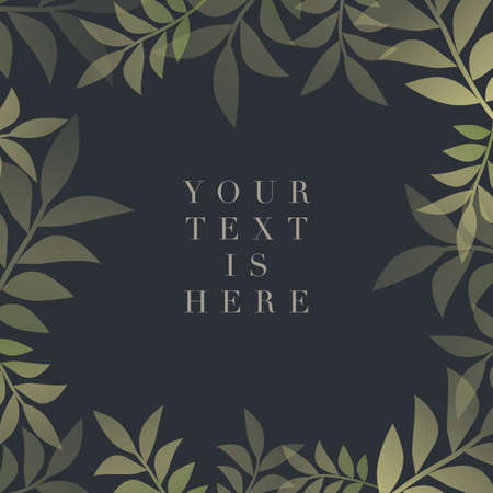 Botanical frame of delicate and stylized leaves and sample text