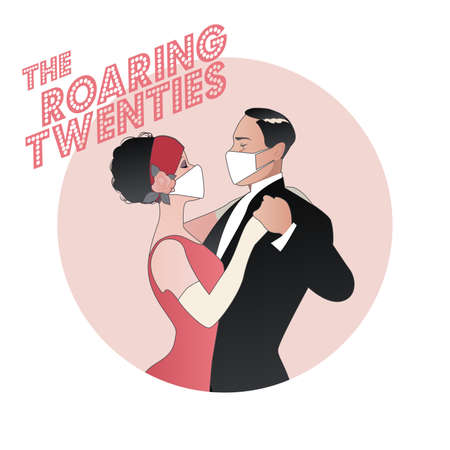 Roaring Twenties. Flapper girl and elegant man dancing, wearing retro clothes and face mask