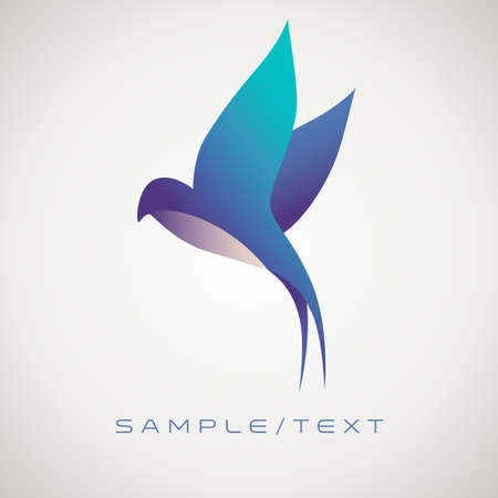 Stylized image of swallow, good for logo, isolated on gradient background