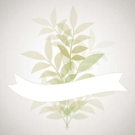 Botanical background of delicate and stylized leaves and blank banner for text