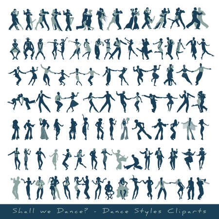 Dance styles cliparts collection. Silhouettes of tango, jazz, swing, rock, pop, soul and latin music dancers, isolated on white background