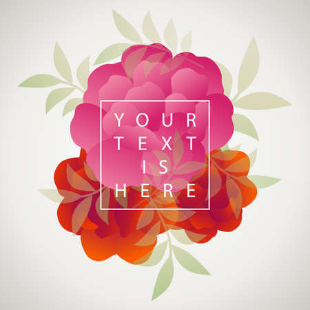 Stylized vintage retro flowers bouquet and leaves. Natural style brand image background and sample text 矢量图像