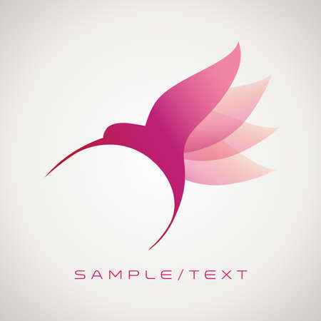 Stylized image of hummingbird, good for logo, isolated on gradient background. 矢量图像