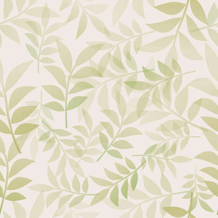 Botanical seamless pattern of delicate and stylized leaves 矢量图像