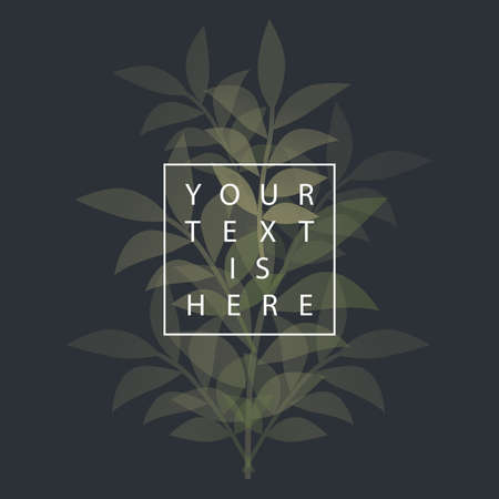 Botanical background of delicate and stylized leaves and sample text