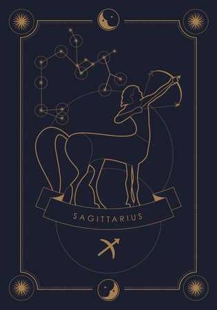 Astrological zodiac sign. Constellation and symbol. Poster illustration with moon and stars frame. Illustration