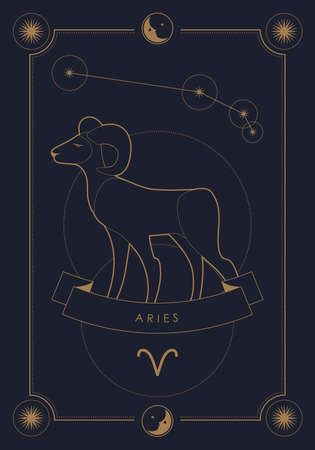 Astrological zodiac sign. Constellation and symbol. Poster illustration with moon and stars frame. 矢量图像