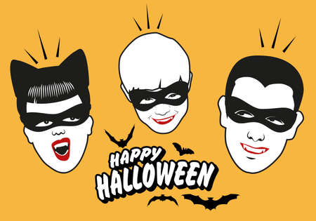 Retro style vampire family wearing masks. Happy Halloween text surrounded by bats.